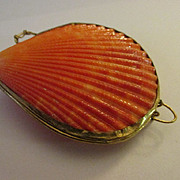 Vintage Natural Orange Pecten Seashell Trinket of Pill Box, Coin Purse