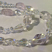 """Faceted Cut Clear Crystal Bead Necklace, 20"""""""