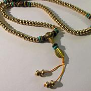 "Tibetan Prayer Necklace with Dzi and Golden Brass Bead, 23"""