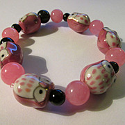 Pink Ceramic Baby Owl Beads with Pink and Black Gemstone Bead Expandable Bracelet