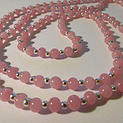 """Vintage Japanese Pink Glass Bead Necklace, 48"""""""