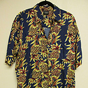 Pineapple Print Hawaiian Aloha Shirt, 100% Rayon