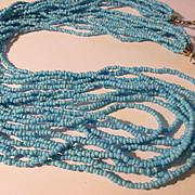 """Vintage 10-Strand Mini Seed Bead Necklace, 30"""""""
