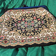 Vintage Floral Tapestry Petite Clutch with Snap Closure