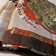 """Vintage Roger L. Paris """"Souvenir de Paris"""" Tourist Landmarks Silky Scarf"""