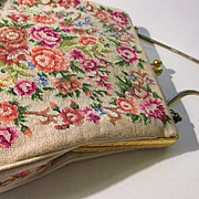 Vintage Floral Needlepoint Purse with Pinch Clasp and Snake Chain Handle