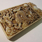 Chinese Jade Dragon Chasing Pearl Tablet Collectible