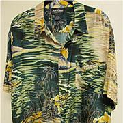 Vintage Aloha Shirt of Palm Trees on the Beach, 100% Silk, Size Large