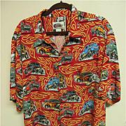 """Reyn Spooner """"Art of Eddy Y"""" Hot Rod Aloha Shirt, 100% Rayon, Size XXL"""