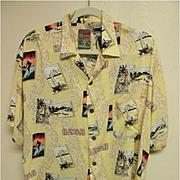 """""""Hawaii"""" Surfer-Outrigger-Hula Girl Aloha Shirt, 100% Rayon, Size M"""