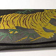 Vintage Embroidered Wallet of Tiger in Bamboo Forest