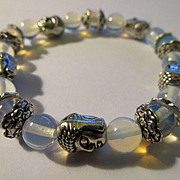 Tibet Silver Buddha Charms with Moonstone Bead Expandable Bracelet