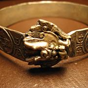 Vintage Tibetan Silver Metal Dragon's Head Bangle