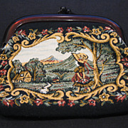 Vintage Tapestry Cosmetic Clutch with Victorian Scene and Pinch Lucite Closure