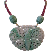 Rare Hand Carved Antique Jadeite Jade Butterfly Grade A With Ruby and Sapphire Necklace;Jade Butterfly Necklace