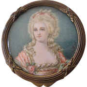 19th Century French Bronze Hand Painted Miniature Portrait Trinket Box Signed Hallais
