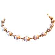GIA GG Appraised! 14k South Sea Pearls By The Yard Necklace 9.5 MM  Average Vintage Estate:South Sea Pearl Necklace