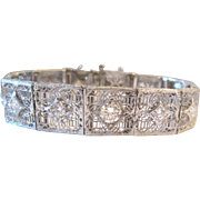 2.30 Carat Diamond Platinum 14K Art Deco Bracelet Filigree