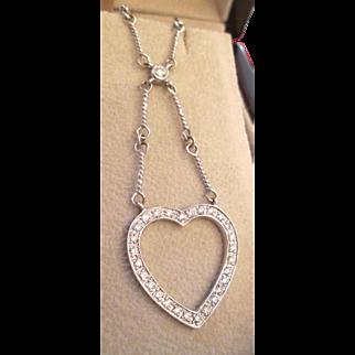 1 Carat Diamond Heart 18K Lavalier Necklace Y Necklace Estate