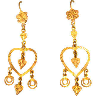 21K Gold Mughal Heart Earrings Chandelier Vintage Estate