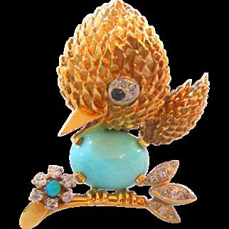 18K Diamond Persian Turquoise And Sapphire Tweety Love Bird Brooch Vintage Estate
