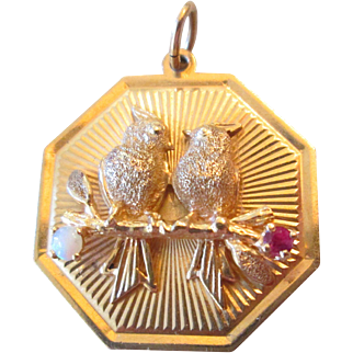 Rare Love Birds 14k Dankner Charm Pendant Ruby And Opal C.1960s Estate