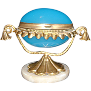 Rare Miniature  Bru Doll French Antique Sewing Etui With Tiny Sterling Silver Tools Tiny Blue Opaline Glass Child's Miniature Toy C.1850 French Ormolu Palais Royal  Napoleon III