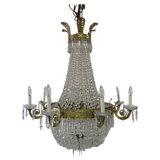 Vintage French Empire DIrectoire Brass Crystal Beaded Basket Chandelier HUGE