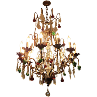 Vintage French Crystal Directoire Fruit Chandelier 12 Light Huge