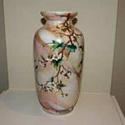 Harrach glass vase Cherry blossom