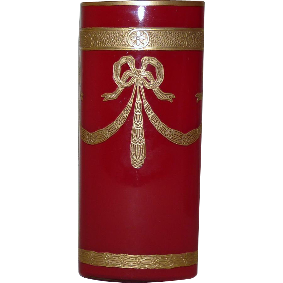 Red Legras Empire vase rectangular form