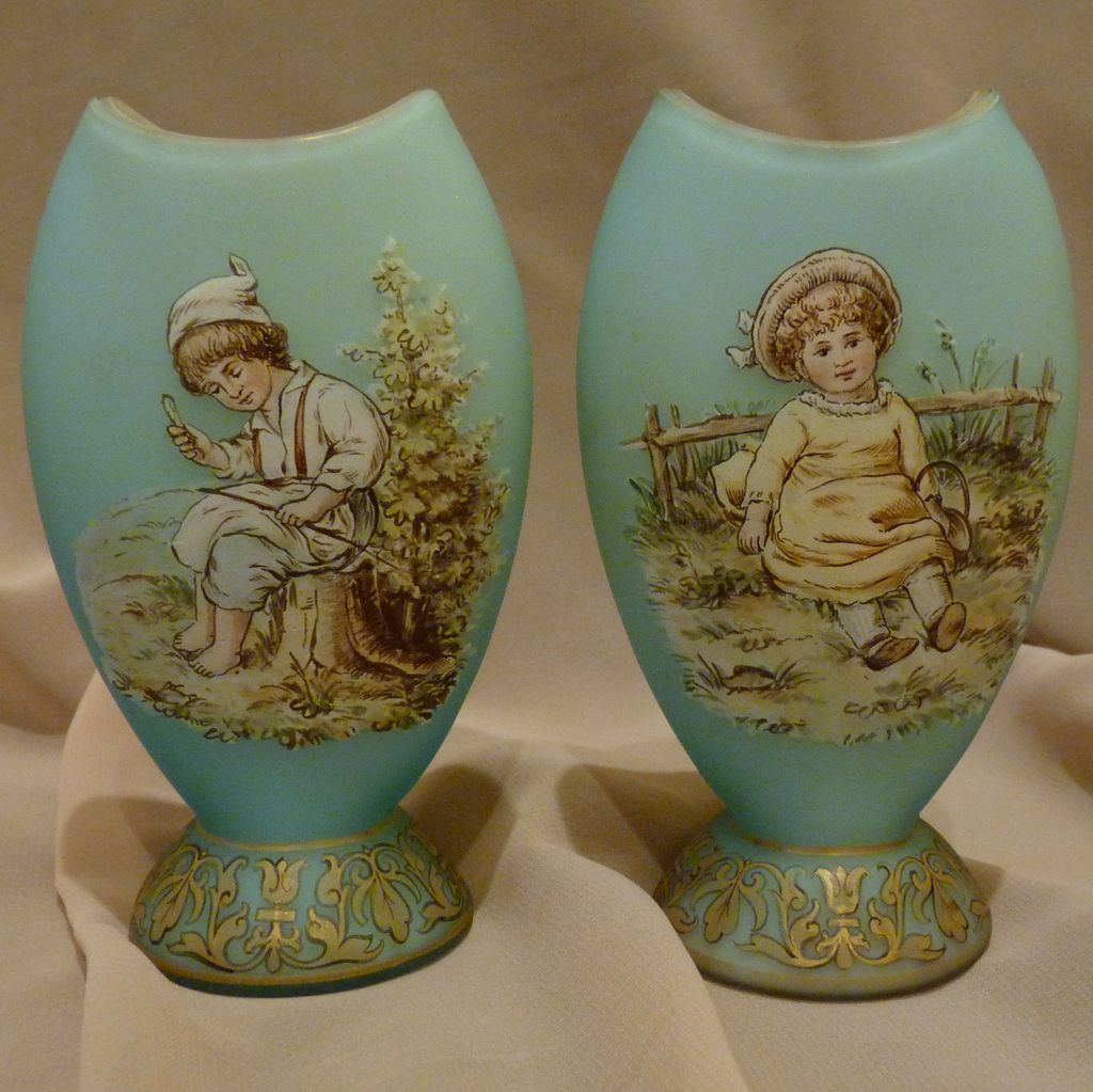 Matching Pair of Riedel glass vases with Children blue satin glass.