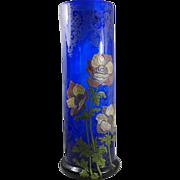 Legras enameled glass vase Cobalt blue