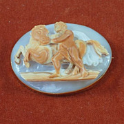 Fine Georgian Conch Shell Cameo with Mythological Motif