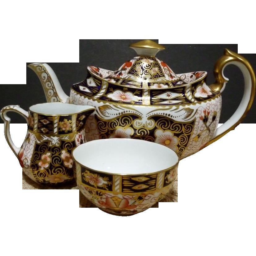 Greatly Reduced - Royal Crown Derby Imari #2451 Tea Pot, Sugar & Creamer Set