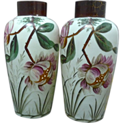 *Final Clearance - A Pair of Floral Bristol Glass Vases - Pale Sea Green
