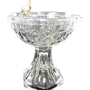 *Final Clearance ~ Crystal Candy Bowl with Brass Bird on Rim, Gorham ~ Germany