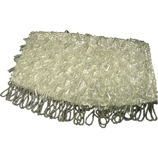 SALE *40% Reduction ~ White Evening Clutch ~ Dangling Sparkling Beads, Sequins, and White Satin