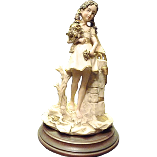 SALE *Final Clearance~ Capdimonte Girl Figurine- Done in Flesh, White, Gold and Beige on Wooden Pedestal