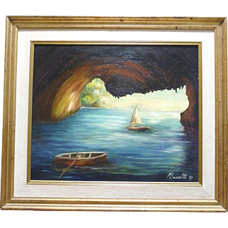 SALE *Final Clearance-Deluxe Oil on Canvas ~Grotto Isle of Capri ~signed