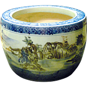 """*Final Clearance ~ Large 16""""x11"""" Blue White Ceramic Chinoiserie  Jardiniere/Tub"""