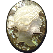 Abalone Shell Cameo Pin - Sterling