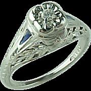 Diamond & Sapphire Filigree Engagement Ring
