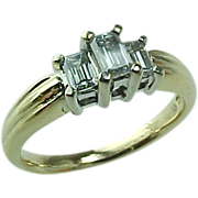Diamond Engagement Ring and Three Stone Anniversary Ring Approx .50 Carat (ctw) in 14K Yellow Gold