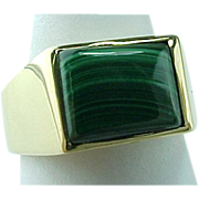 Vintage Unisex Solid 14K Yellow Gold Malachite Ring