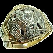 Masonic Gold Diamond Enamel Mens Ring w/ 32nd Degree Eagle