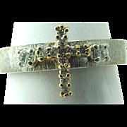 Vintage 14K Two Tone Brushed Gold Diamond CROSS Ring