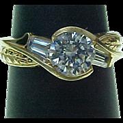 Lovely 10K Yellow Gold 1.50 Carat Faux Diamond Ring