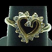14K Yellow Gold Open Heart Diamond Ring