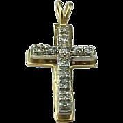 Vintage 14K Yellow Gold 3 Dimensional Diamond CROSS